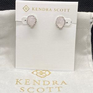 New Kendra Scott Silver Tessa In Rose Quartz